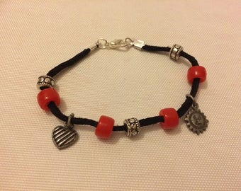 Black Suede bracelet with charms