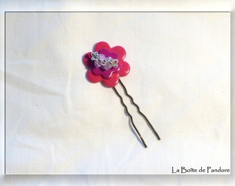 Flower Bobby pin pink polymer clay