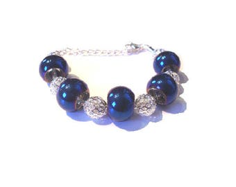 Bracelet, Royal Blue European beads silver