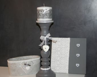 wooden shabby grey and white lace heart candle holder