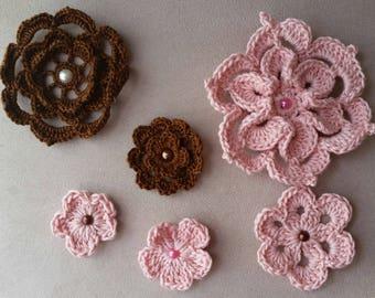Flores de crochet diferentes tamaños