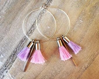 Hoop earrings 35 mm with big PomPoms y' has pastel colors