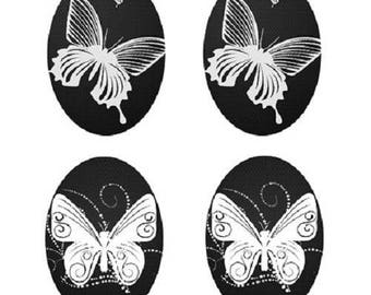 18x13mm cabochon Butterfly 2 pairs