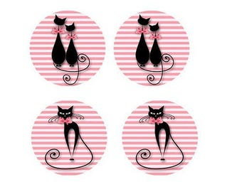 Pink 12mm, 2 pairs cats background theme cabochons