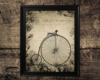Vintage bicycle wall decor, Life is a beautiful ride, printable bicycle print, vintage bicycle art, wall design, vintage home decor