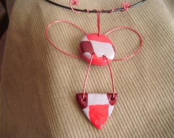 Neck geometric red/burgundy/gray polymer/metal