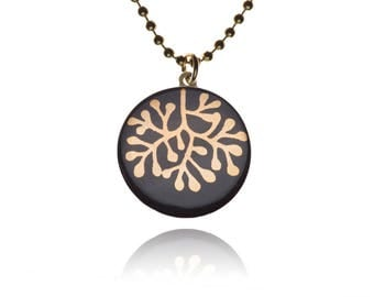 Krinke porcelain round chain, ball chain necklace, pendant, handmade motif: coral 24 carat gold on black