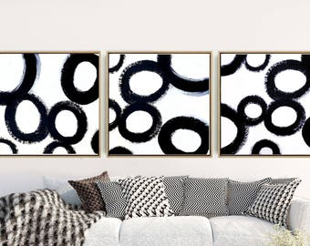 Triptych, Abstract Art, Set of 3 Prints, Black And White Art, Minimalist Art Print, Giclee Print, Home Decor, Wall Decor, Wall Art