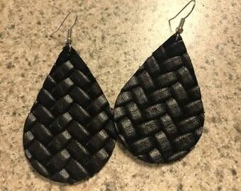 Large black leather weave pattern earrings