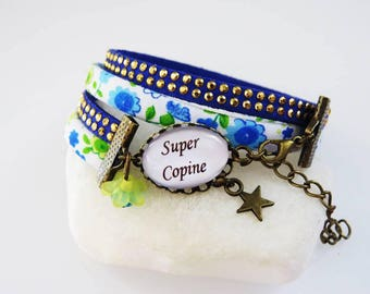 """super girl"" fabric liberty floral blue Bracelet, gift for a great girlfriend"