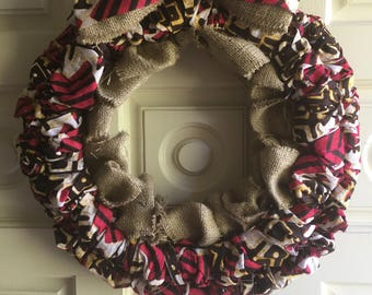 Handmade Wreath with African Fabric and Burlap