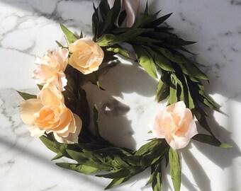 Crepe Blush Olive Leaf Wreath