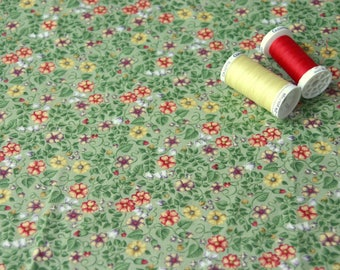 Patchwork fabric small green flowers