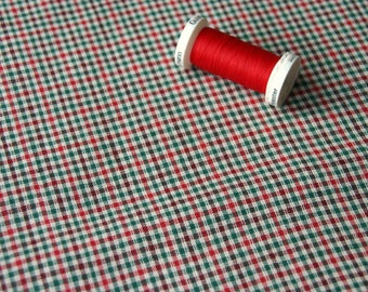 Patchwork fabric vintage red and green checkered