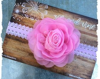 Pink Flower Baby Infant Lace Headband - Pretty in Pink - READY TO SHIP