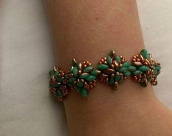 Copper and teal  bracelet