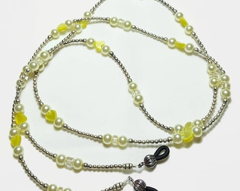 Sterling Silver Citrine Gemstone Beaded Eyeglass Chain