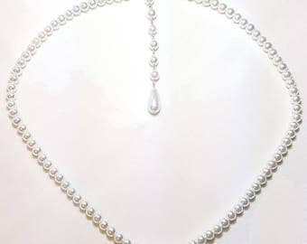 White Pearl Lariat Style Bridal Wedding Necklace