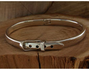 Bracelet with silver buckle 925, bracelet rigid bangle with slave, Unisex bracelet man woman, bracelet headband