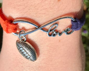 Infinity Bracelet, Auburn Bracelet, Tigers Bracelet, Bracelet, Infinity Bracelet, Boho Bracelet, Football Bracelet, orange, Alabama bracelet