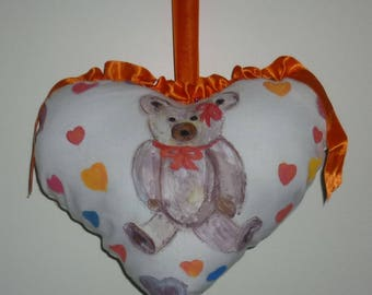 CHARMING pillow Valentine heart to hang with a cute painted Teddy bear shape