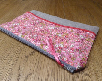 Pouch or make-up Liberty and linen cotton lining