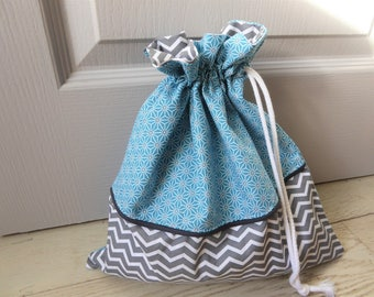 Pouch bag, laundry or lingerie in order-bag storage, fully lined, cotton, made in France