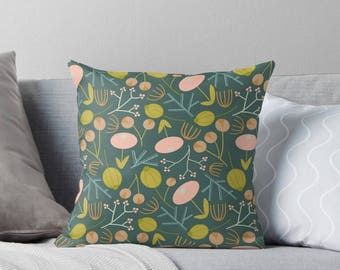 Dark Green Floral Throw Pillow|Interior|Homeware|Cushions|Pillows|Floral|Green|Pink|branches