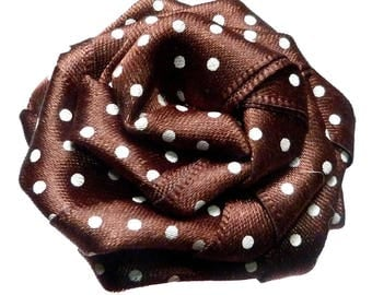 woman round flat flower hair clip retro pinup vintage chocolate brown satin white polka dots