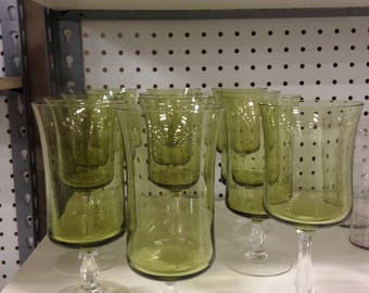 Vintage Olive Green Glass