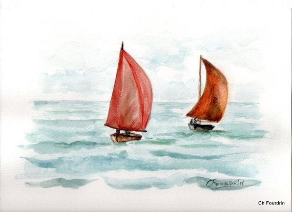 articles similaires peinture aquarelle voiles rouges deux voiliers en mer sur etsy. Black Bedroom Furniture Sets. Home Design Ideas