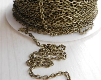 1 meter of chain color antique bronze 3mm x 2.2 mm wide