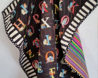 ALPHABET, Baby Quilt, toddler quilt, handmade, flannel back, colorful, reversible, happy, rainbow colors, black, stripes, ABC,