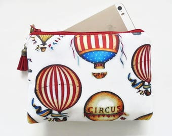 Canvas Pouch, Hot air balloon, Vintage circus, carnival theme.