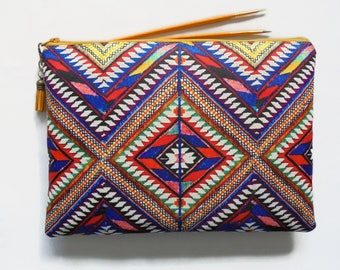Gifts for her, Wash bag, embroidered aztec print, boho, pocket bag, travel bag, cosmetic bag, zip bag, make up bag, large makeup bag.