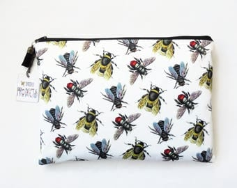Gifts for her, Wash bag, Vintage bumble bee species, travel bag, cosmetic bag, zip bag, make up bag, womens gift idea.