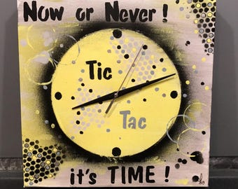 """Modern abstract painting/clock on canvas """"It's Time"""""""