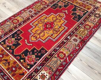 Turkish rug, Vintage rug, Handmade rug, rug, Area rug, Wool rug, Bohemian rug, Kilim rug//FREE SHİPPİNG !! 197 cm x 106 cm = 6,4 ft x 3,4 ft
