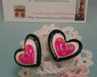 #18 # Stud Earrings black/white/pink heart with polka dots