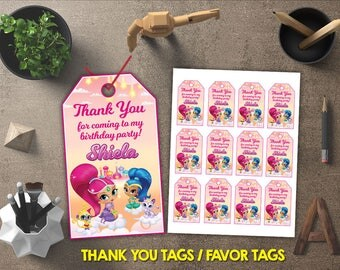 Shimmer and Shine Thank You Tags, Shimmer and Shine Favor Tags, Shimmer and Shine Gift Tags, Shimmer and Shine Tags Printables