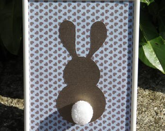 "Deco frame for child's room ""my little bunny"" colors: blue, Brown metallic, white and tassel"