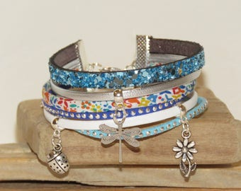 """""""Cuff"""" day """"summer"""" leather with glitter, d through suede colors turquoise, blue,"""