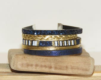 """Cuff Bracelet """"prom night"""" leather, glitter, gold, blue color Navy and white"""