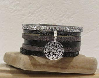 """""""Swirl of flowers"""" black, dark gray and silver leather Cuff Bracelet with magnetic clasp"""