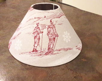 "Fabric covered Lampshade ""yesteryear ski"" - model 001"