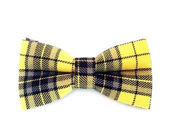 Yellow Tartan Bow Tie | Tartan Bow Tie| Men's Bow Tie| Pre-Tied Bow Tie | Yellow Bow Tie | Bow Tie for Men | Retro Bow Tie