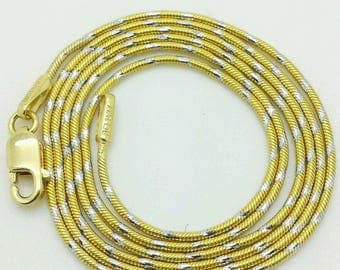 "14k Solid Yellow or White Gold Two Tone Snake Necklace Chain 16""-24"" 1.0mm"