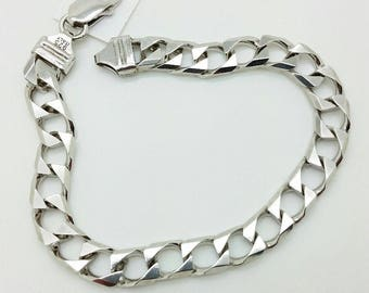 "925 Solid Italian Sterling Silver Square Miami Cuban Bracelet Chain 8.5"" 8mm"
