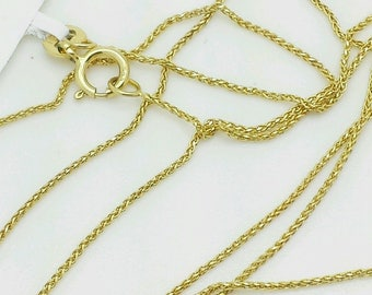 "14k Yellow Gold Diamond Cut Round Wheat Necklace Pendant Chain 16""-20"" 0.6mm"