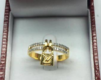 LV Ring with Diamond 9kGold,28 Diamonds,0.13 Carat